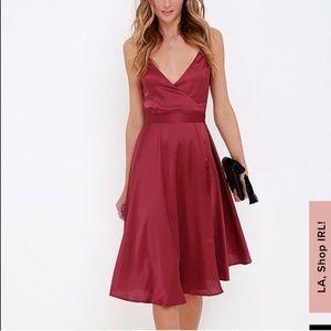Lulus Stolen My Heart Red Wine Wrap Midi Dress